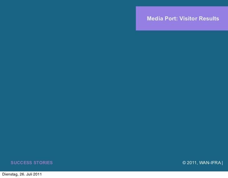 Media Port: Visitor Results    SUCCESS STORIES                    © 2011, WAN-IFRA |Dienstag, 26. Juli 2011