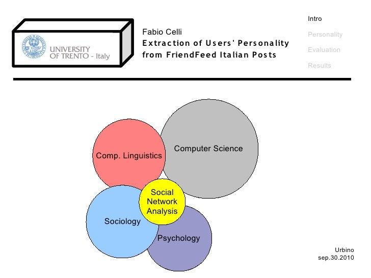 Intro               Fabio Celli                                     Personality               E x tra c tio n o f U s ers ...