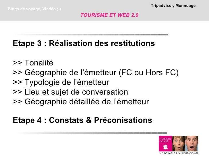 Tripadvisor, MonnuageBlogs de voyage, Viadéo ;-)                              TOURISME ET WEB 2.0  Etape 3 : Réalisation d...