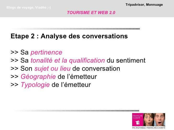 Tripadvisor, MonnuageBlogs de voyage, Viadéo ;-)                              TOURISME ET WEB 2.0  Etape 2 : Analyse des c...