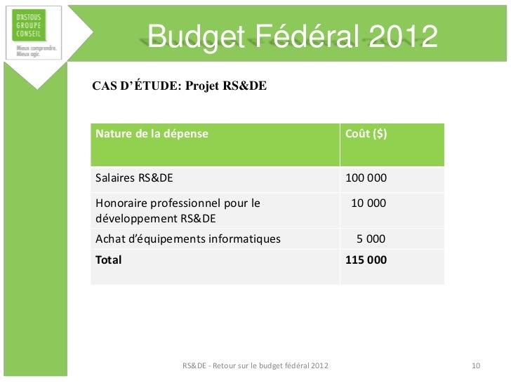 Budget Fédéral 2012CAS D'ÉTUDE: Projet RS&DENature de la dépense                                         Coût ($)Salaires ...