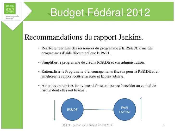 Budget Fédéral 2012Recommandations du rapport Jenkins.    • Réaffecter certains des ressources du programme à la RS&DE dan...