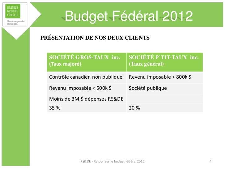 Budget Fédéral 2012PRÉSENTATION DE NOS DEUX CLIENTS  SOCIÉTÉ GROS-TAUX inc.                     SOCIÉTÉ P'TIT-TAUX inc.  (...