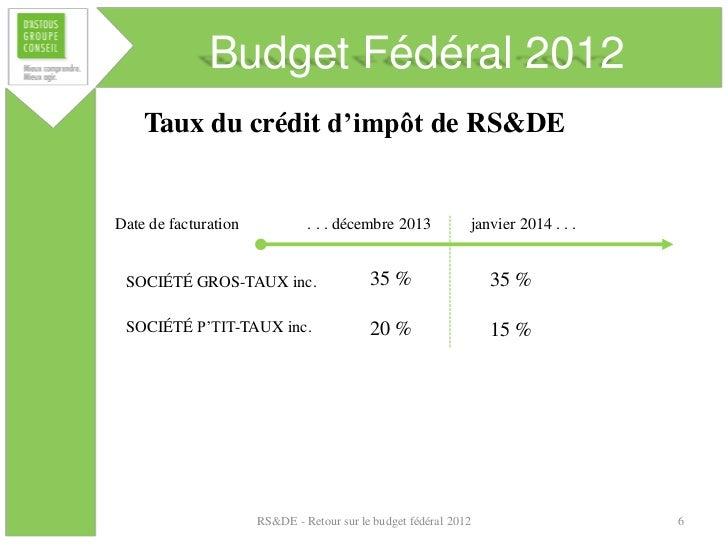 Budget Fédéral 2012    Taux du crédit d'impôt de RS&DEDate de facturation            . . . décembre 2013            janvie...