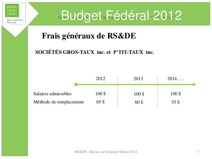 Budget Fédéral 2012    Frais généraux de RS&DESOCIÉTÉS GROS-TAUX inc. et P'TIT-TAUX inc.                                  ...