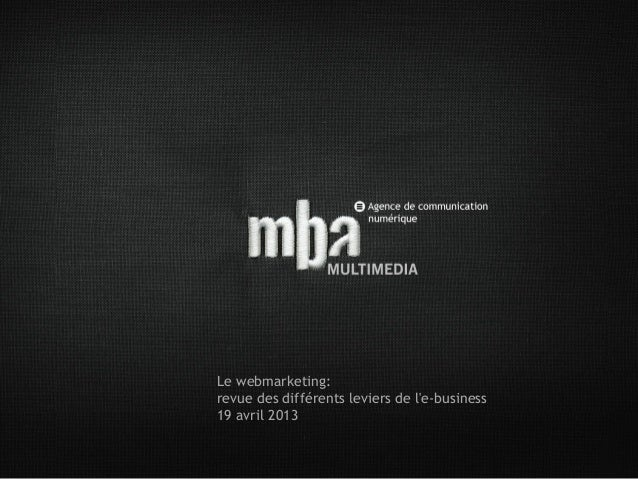 Le webmarketing:revue des différents leviers de le-business19 avril 2013