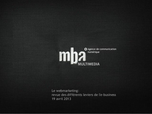Le webmarketing:revue des différents leviers de le-business19 avril 2013