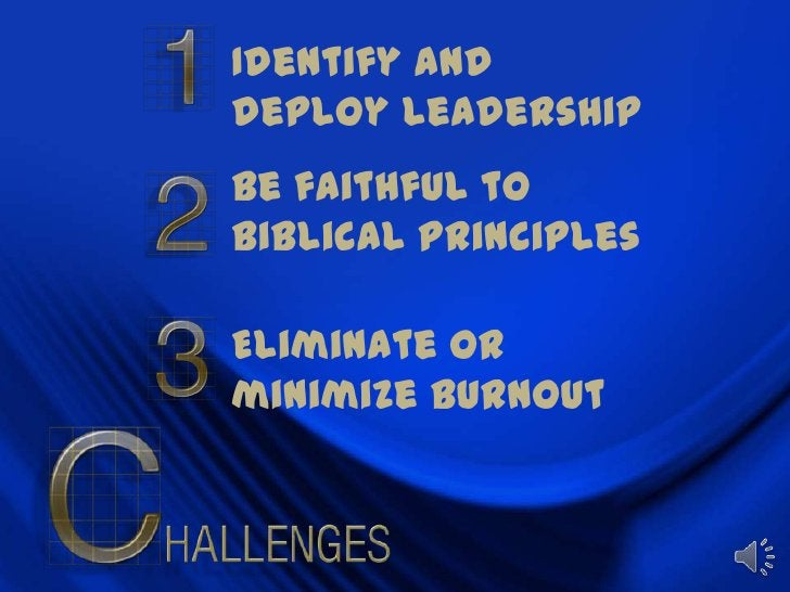 Identify and deploy leadership<br />Be faithful to biblical principles<br />Eliminate or minimize burnout<br />