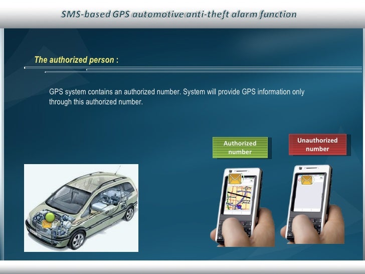 The authorized person   :   GPS system contains an authorized number. System will provide GPS information only through thi...
