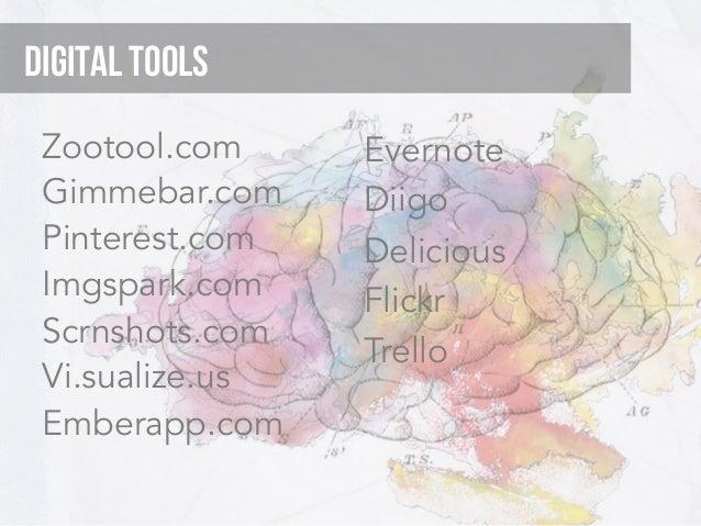 Digital Tools Zootool.com     Evernote Gimmebar.com    Diigo Pinterest.com   Delicious Imgspark.com    Flickr Scrnshots.co...