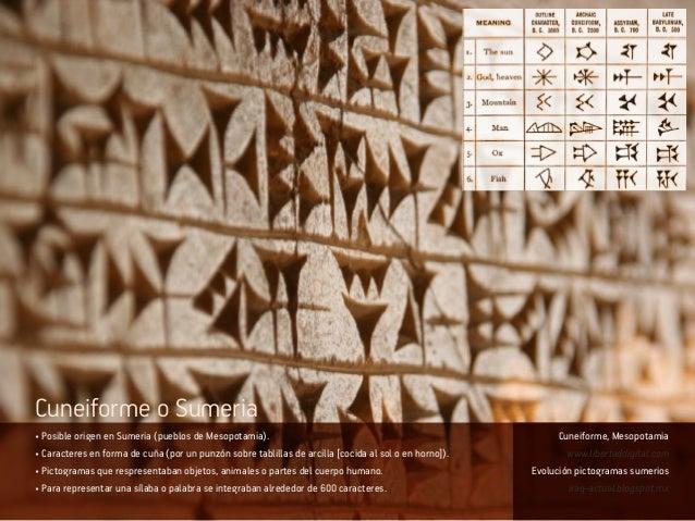 • Posible origen en Sumeria (pueblos de Mesopotamia). • Caracteres en forma de cuña (por un punzón sobre tablillas de arci...