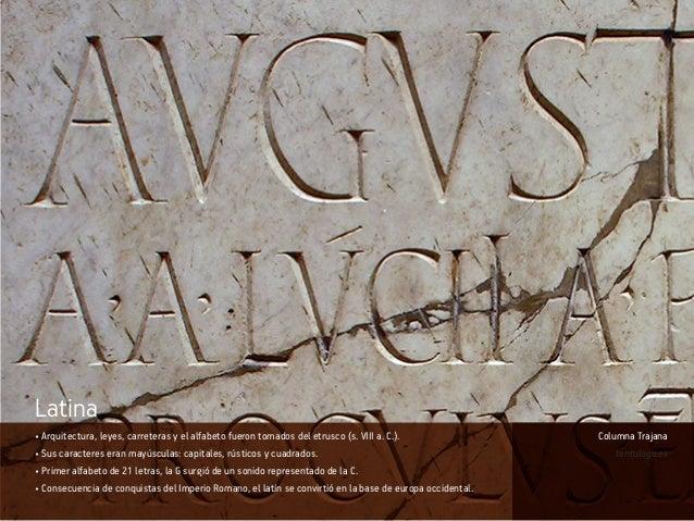 • Arquitectura, leyes, carreteras y el alfabeto fueron tomados del etrusco (s. VIII a. C.). • Sus caracteres eran mayúscul...