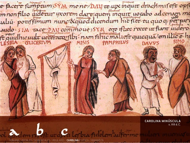 s. VIII d. C. carolina minúscula ROMANA / UNCIALES / SEMIUNCIALES / INSULARES / CAROLINA / GÓTICA / HUMANÍSTA