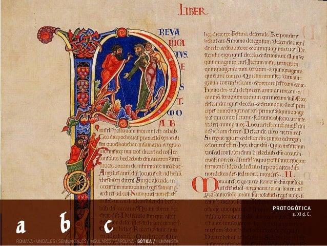 s. XI d. C. protogótica ROMANA / UNCIALES / SEMIUNCIALES / INSULARES / CAROLINA / GÓTICA / HUMANÍSTA