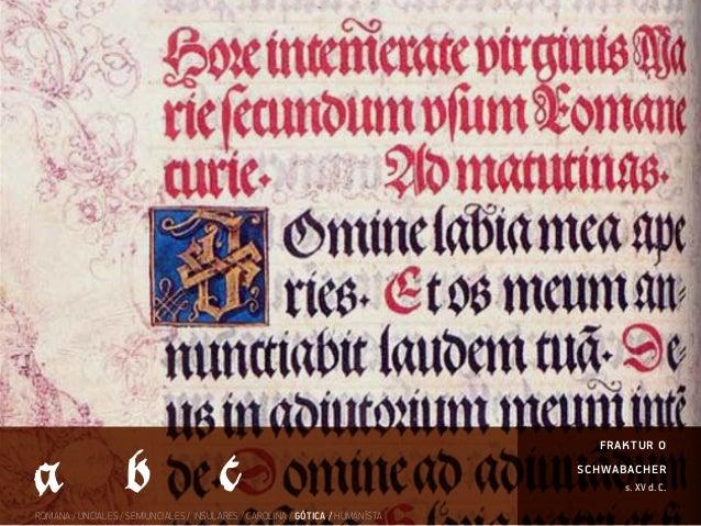 s. XV d. C. fraktur o schwabacher ROMANA / UNCIALES / SEMIUNCIALES / INSULARES / CAROLINA / GÓTICA / HUMANÍSTA