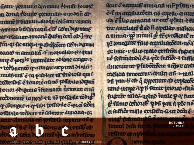 ROMANA / UNCIALES / SEMIUNCIALES / INSULARES / CAROLINA / GÓTICA / HUMANÍSTA s. XV d. C. rotunda