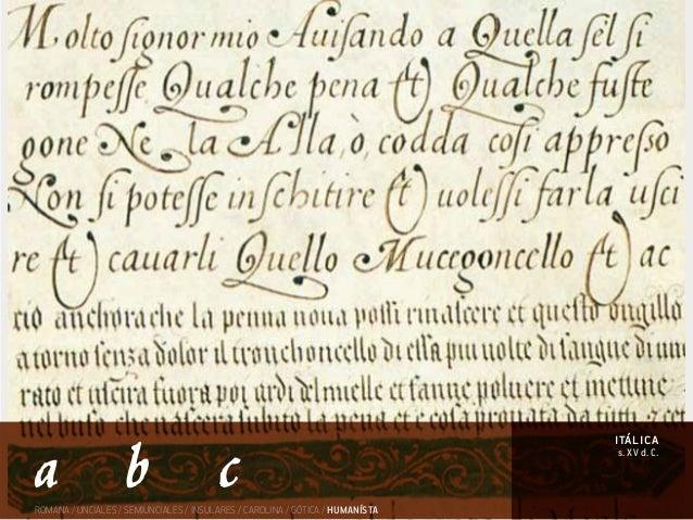 ROMANA / UNCIALES / SEMIUNCIALES / INSULARES / CAROLINA / GÓTICA / HUMANÍSTA s. XV d. C. itálica