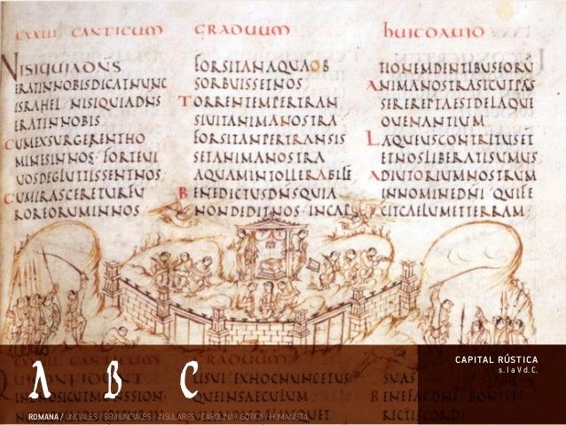 s. I a V d. C. capital rústica ROMANA / UNCIALES / SEMIUNCIALES / INSULARES / CAROLINA / GÓTICA / HUMANÍSTA