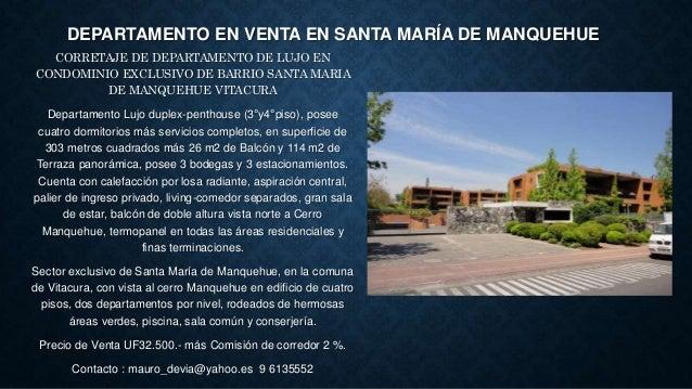 DEPARTAMENTO EN VENTA EN SANTA MARÍA DE MANQUEHUE CORRETAJE DE DEPARTAMENTO DE LUJO EN CONDOMINIO EXCLUSIVO DE BARRIO SANT...