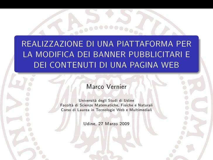 REALIZZAZIONE DI UNA PIATTAFORMA PER LA MODIFICA DEI BANNER PUBBLICITARI E   DEI CONTENUTI DI UNA PAGINA WEB              ...