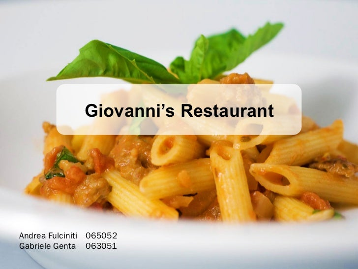 Giovanni's RestaurantAndrea Fulciniti 065052Gabriele Genta 063051