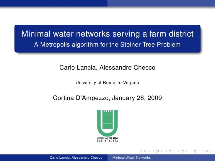 Minimal water networks serving a farm district    A Metropolis algorithm for the Steiner Tree Problem                Carlo...