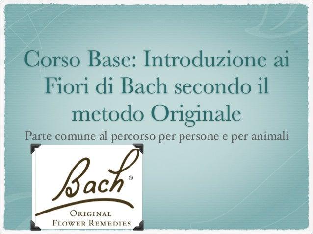 Corso Base: Introduzione ai Fiori di Bach secondo il metodo Originale Parte comune al percorso per persone e per animali