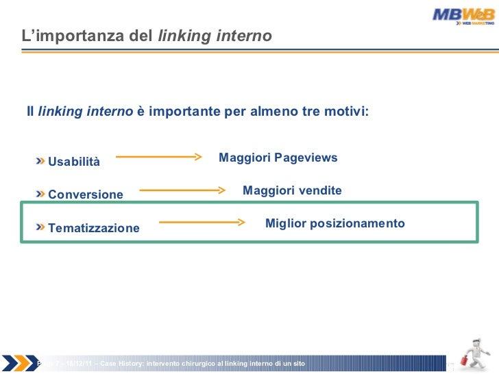 L'importanza del  linking interno Page   - 18/12/11 –  Case History: intervento chirurgico al linking interno di un sito I...