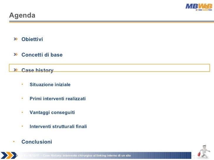 Agenda Page   - 18/12/11 –  Case History: intervento chirurgico al linking interno di un sito <ul><li>Obiettivi </li></ul>...
