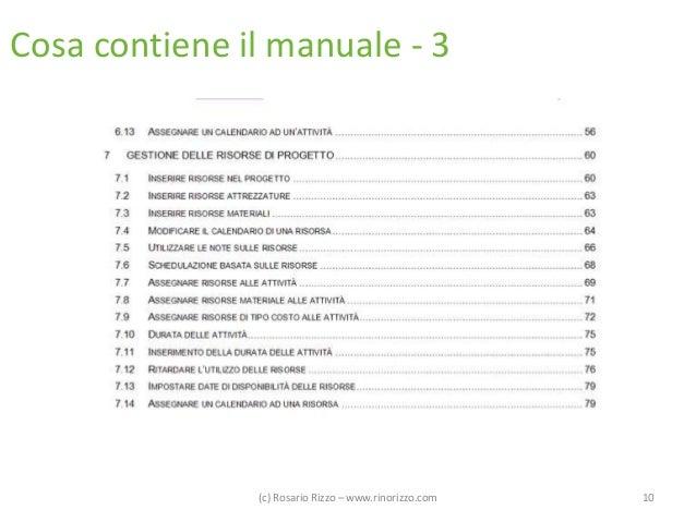 Cosa contiene il manuale - 3  (c) Rosario Rizzo – www.rinorizzo.com  10