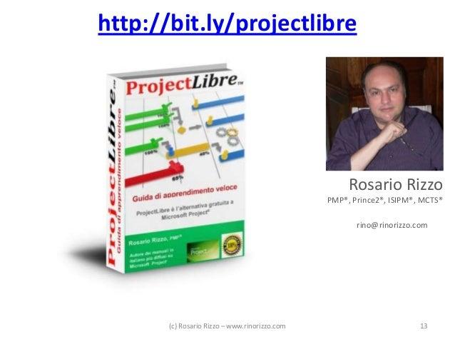http://bit.ly/projectlibre  Rosario Rizzo PMP®, Prince2®, ISIPM®, MCTS® rino@rinorizzo.com  (c) Rosario Rizzo – www.rinori...