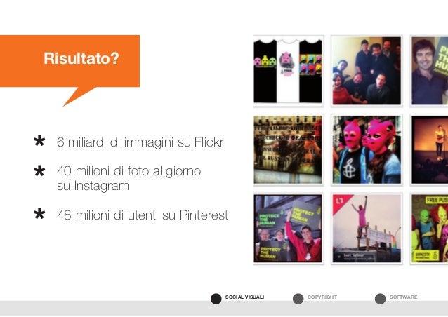 SOFTWARECOPYRIGHTSOCIAL VISUALI Risultato? 6 miliardi di immagini su Flickr 40 milioni di foto al giorno su Instagram 48 m...