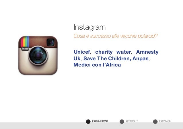 SOFTWARECOPYRIGHTSOCIAL VISUALI Unicef, charity water, Amnesty Uk, Save The Children, Anpas, Medici con l'Africa Instagram...