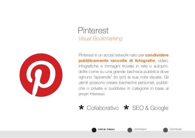 SOFTWARECOPYRIGHTSOCIAL VISUALI Pinterest è un social network nato per condividere pubblicamente raccolte di fotografie, v...