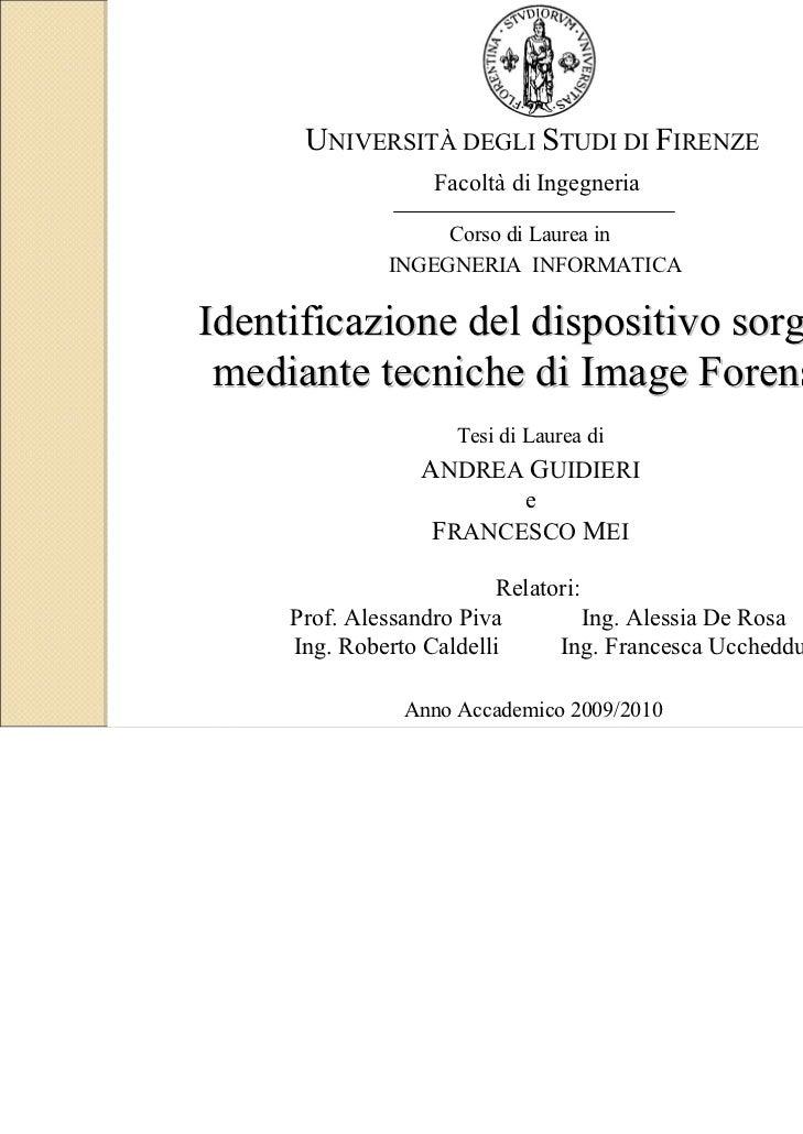 UNIVERSITÀ DEGLI STUDI DI FIRENZE                  Facoltà di Ingegneria                   Corso di Laurea in             ...