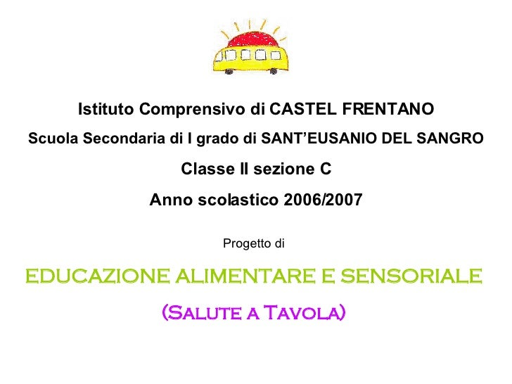 Istituto Comprensivo di CASTEL FRENTANO Scuola Secondaria di I grado di SANT'EUSANIO DEL SANGRO Classe II sezione C Anno s...