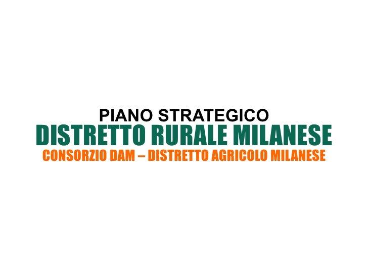 PIANO STRATEGICODISTRETTO RURALE MILANESECONSORZIO DAM – DISTRETTO AGRICOLO MILANESE
