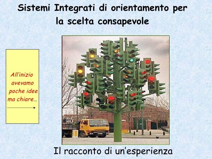 Sistemi Integrati di orientamento per la scelta consapevole Il racconto di un'esperienza All'inizio  avevamo poche idee ma...