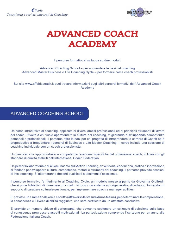 effebia Consulenza e serivizi integrati di Coaching                                  ADVANCED COACH                       ...