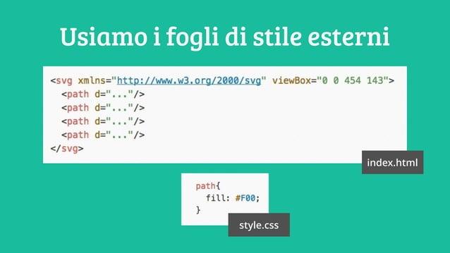 Usiamo i fogli di stile esterni index.html style.css