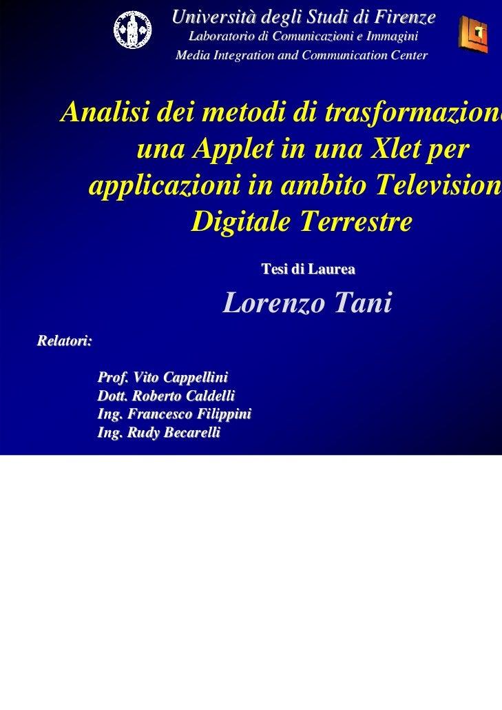 Università degli Studi di Firenze                         Laboratorio di Comunicazioni e Immagini                        M...