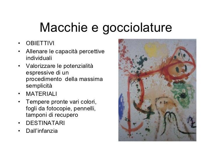 Macchie e gocciolature <ul><li>OBIETTIVI </li></ul><ul><li>Allenare le capacità percettive individuali </li></ul><ul><li>V...