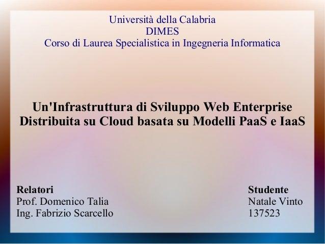 Università della Calabria DIMES Corso di Laurea Specialistica in Ingegneria Informatica Un'Infrastruttura di Sviluppo Web ...