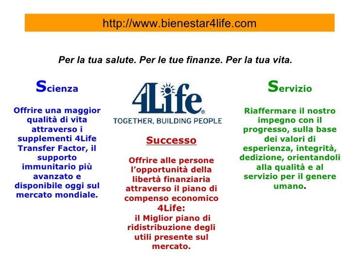 Per la tua salute. Per le tue finanze. Per la tua vita.   S cienza Offrire una maggior qualità di vita attraverso i supple...