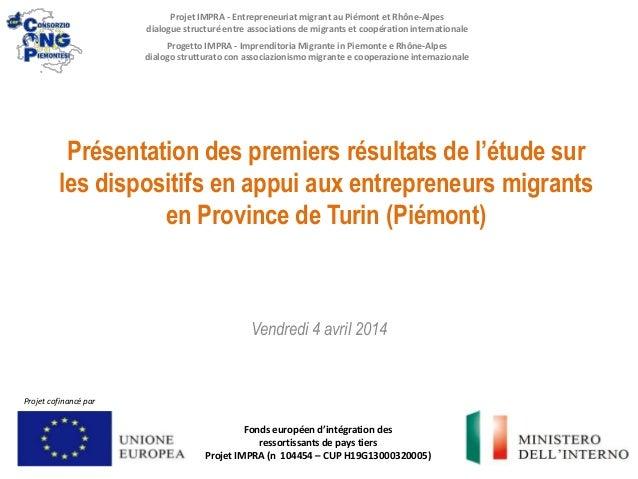 Présentation des premiers résultats de l'étude sur les dispositifs en appui aux entrepreneurs migrants en Province de Turi...