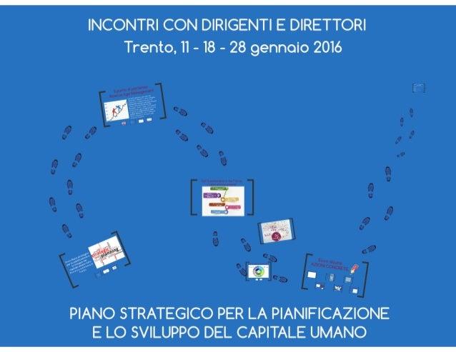 INCONTRI CON DIRIGENTI E DIRETTORI Trento,  II — I8 - 28 gennaio 2016           -. ar,7  PIANO STRATEGICO PER LA PIANIFICA...