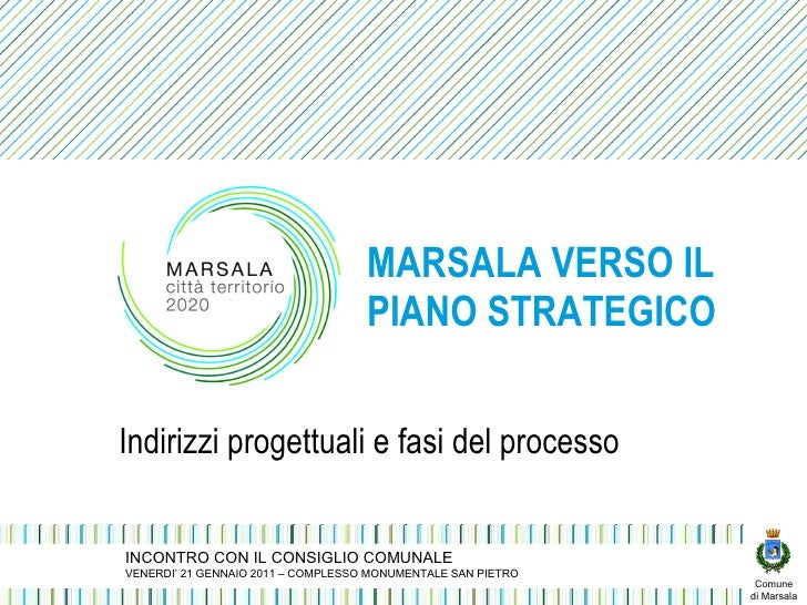 MARSALA VERSO IL PIANO STRATEGICO Indirizzi progettuali e fasi del processo INCONTRO CON IL CONSIGLIO COMUNALE VENERDI' 21...