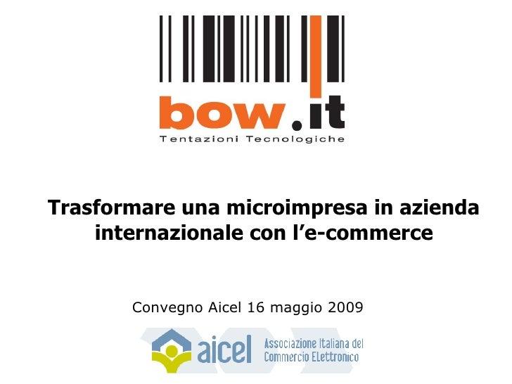 Trasformare una microimpresa in azienda internazionale con l'e-commerce Convegno Aicel 16 maggio 2009