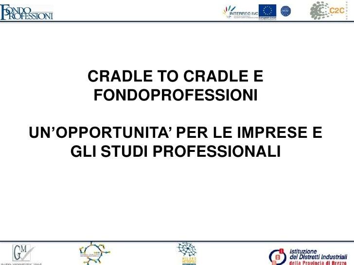 CRADLE TO CRADLE E FONDOPROFESSIONI <br />UN'OPPORTUNITA' PER LE IMPRESE E GLI STUDI PROFESSIONALI <br />