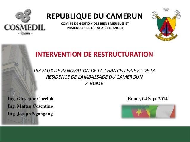 REPUBLIQUE DU CAMERUN  COMITE DE GESTION DES BIENS MEUBLES ET  IMMEUBLES DE L'ETAT A L'ETRANGER  INTERVENTION DE RESTRUCTU...